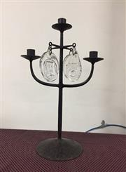 Sale 8789 - Lot 2326A - Metal Three Arm Candelabra with Glass Drops