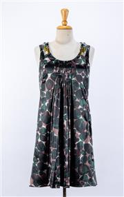 Sale 8891F - Lot 11 - A Schumacher printed satin shift dress with heavily embellished panels to neckline, size small