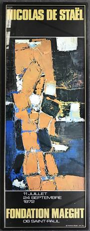 Sale 8964 - Lot 2040 - Nicolas de Staël Exhibition Poster for Fondation Maeght 1972 98 x 34cm (frame)