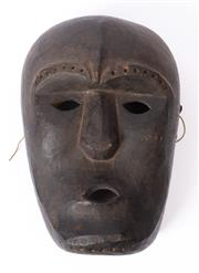 Sale 8994H - Lot 43 - A timber carved mask showing age, height 34cm -