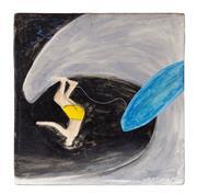 Sale 9023H - Lot 2 - NOEL MCKENNA, Untitled (SURFER) 2002. Enamel on tile 21 X 21cm. Signed lower right and framed. Provenance: Waverley Auction for...