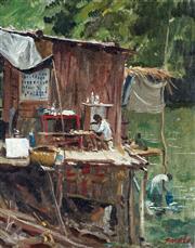 Sale 9038 - Lot 510 - William A. Dargie (1912 - 2003) - The Sepik Carver 36.5 x 29 cm (frame: 54 x 46 x 4 cm)