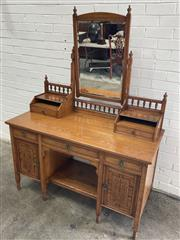 Sale 9068 - Lot 1065 - Late Victorian Aesthetic Ash Dressing Table, possibly by W. Walker & Son, with gallery back, open shelves & trinket drawers, above t...