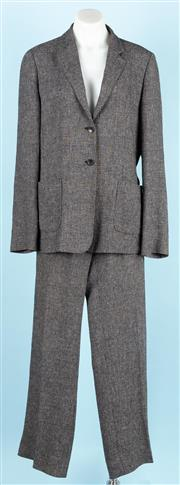 Sale 9083F - Lot 58 - A MAX MARA TWEED SUIT; charcoal colour, unlined coat with patch pockets and two buttons, wide legged pants with side pockets and no...