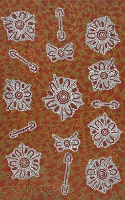 Sale 9212A - Lot 5012 - ROSEMARY PORTER NAMPITJINPA - My Grandmothers Country 151 x 95 cm (stretched and ready to hang)