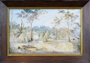 Sale 8297 - Lot 571 - Francis Blower Gibbes (1815 - 1904) - Two Figures On A Country Road, Hunter Valley, N.S.W. 1879 31 x 49cm