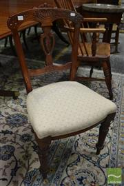 Sale 8500 - Lot 1014 - Victorian Carved Chair, with cream diaper seat & turned legs