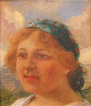 Sale 8613 - Lot 2005 - Carolus Pallya (1875 - 1950)  - Portrait of Gypsy Woman 10 x 9cm