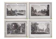 Sale 8598 - Lot 1028 - Set of Four Engraved French Titled Landscapes, in black & gilt frames
