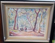 Sale 8587 - Lot 2061 - Edmund Spencer (1920 - 2014) Scribbly Gums: Lane Cove National Park, 2001 oil on canvas board, signed and dated lower right
