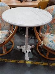 Sale 8680 - Lot 1085 - Cast Iron Cafe Table with White Marble Top