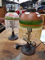 Sale 8724 - Lot 1078 - Glass Shade Table Lamps x 2