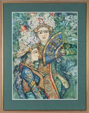 Sale 8807 - Lot 2004 - Indonesian School - Balinese Ceremonial Dancers 74.5 x 55.5cm