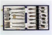 Sale 8860V - Lot 98 - Small Cased Set of EPNS Desert Forks and Teaspoons