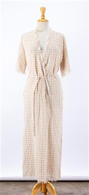 Sale 8891F - Lot 90 - A Hansen&Gretel cotton tunic dress with raw, fringed hems, approx size 10