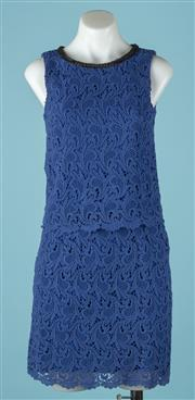 Sale 9090F - Lot 65 - A 123 PARIS HIGH COLLARED DRESS; with beaded neck line and royal blue crochet design, Size EUR 36