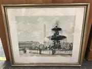 Sale 9028 - Lot 2091 - Artist Unknown Place de la Concorde handcoloured aquatint ed. 39/350, signed -