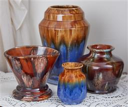 Sale 9103M - Lot 434 - A group of four Regal Mashman brown glazed pottery vases, Tallest Height 22cm