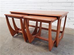Sale 9117 - Lot 1068 - Nest of three teak side tables by Kalmar (h:46 x w:94 x 51cm)