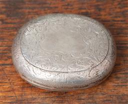 Sale 9120H - Lot 94 - An English hallmarked sterling silver hinged oval form case with blank cartouche to top, Birmingham, c.1895 by Hilliard & Thomason,...