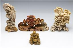 Sale 9144 - Lot 94 - A collection of carved soapstone inc Guanyin figure (H:20cm), inkwell and small buddha