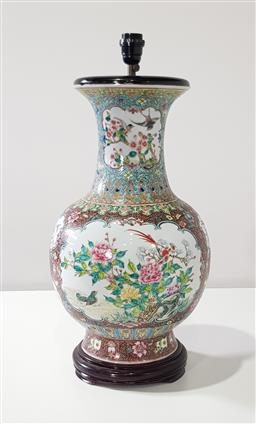 Sale 9196 - Lot 1083 - Large Chinese Porcelain Famille Rose Table Lamp, of vase form with floral reserves featuring birds including a peacock amongst peoni...