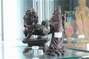 Sale 8348 - Lot 57 - Carved Timer Foo Lion & a Figure