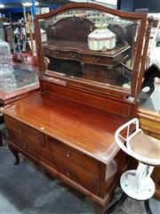 Sale 8740 - Lot 1074 - Inlaid Timber Mirrored Back Dressing Table with Three Drawers on Cabriole Legs to Front