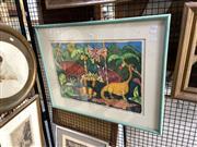 Sale 8895 - Lot 2036 - Framed Dinosaur Art Work
