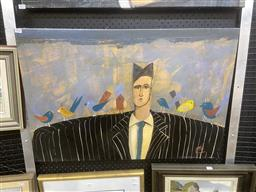 Sale 9091 - Lot 2024 - Pete Hogan Man in Pinstripe Suit with Birds acrylic on canvas, 57 x 84, signed lower left -
