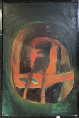 Sale 9113 - Lot 2034 - Joyce Allen Oracle II, oil on board, frame: 95 x 63 cm, signed lower right -