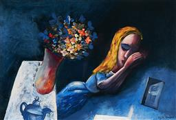 Sale 9212A - Lot 5097 - CHARLES BLACKMAN (1928 -2018) Dreaming Alice archival pigment print, ed. P/P 29.5 x 42 cm (frame: 45 x 57 x 2 cm) signed in print