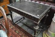 Sale 8317 - Lot 1023 - Renaissance Style Flemish Carved & Stained Pine Side Table, with single frieze drawer, on turned legs with stretcher base (some crac...