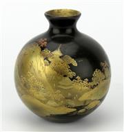 Sale 8342 - Lot 57 - Japanese Black Lacquer Gilt Bud Vase