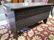 Sale 8539 - Lot 1047 - 18th Century English Oak Plank Coffer, with chip carved edges & later arcaded front