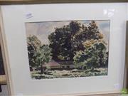 Sale 8557 - Lot 2046 - John D. Moore - Trees in Park, 1948 25 x 35cm (frame size: 43.5 x 55cm)