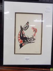 Sale 8561 - Lot 2064 - Danny Dennis Orca and Salmon, decorative print, 36 x 29cm (frame size)