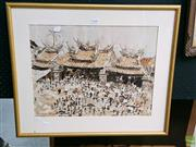 Sale 8582 - Lot 2040 - Artist Unknown Oriental Market Square, Butterfly Wings, 38x49.5,