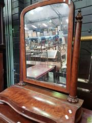 Sale 8617 - Lot 1049 - Victorian Plum Pudding Mahogany Toilet Mirror, with turned posts & lockable hinged compartment (no key)