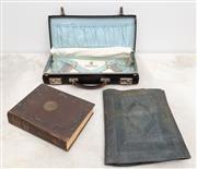 Sale 8644A - Lot 84 - A group of Masonic regalia including apron in case marked EEW, the Encyclopedia of Free Masonry, folder with associated ephemera.