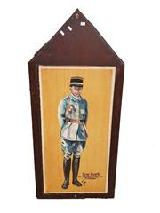 Sale 8809B - Lot 612 - Rene Fonck. The Allies Top Scoring Fighter Pilot Ace with 75 Victories. Hand Painted Double Sided Wall Plaque. L.M 74 (126 x 57cm)