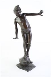 Sale 8827D - Lot 1 - A Small Bronze Figure of A Boy Balancing on A Vessel (H 26cm) Signed to Base G.Pazente