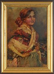 Sale 8838A - Lot 5183 - Artist Unkown - Peasant Girl 38 x 26cm