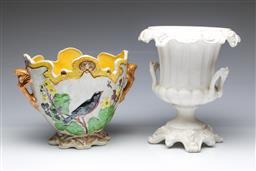 Sale 9093P - Lot 78 - White Pottery Classical Style Urn with Mark and Lustre Jardiniere (Tallest: 26 cm)