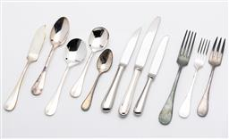 Sale 9255H - Lot 52 - A quantity of Christofle silver-plated Fidelio cutlery (107 pcs), together with a grey suede Christofle cutlery case;