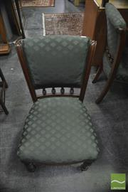 Sale 8347 - Lot 1050 - Set of Four Dining Chairs in Green Upholstery with Spindle Gallery