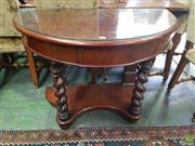 Sale 8617 - Lot 1037 - Late 19th Century Cedar Demi Lune Hall Table, fitted with a drawer, barley twist supports & concave lower tier