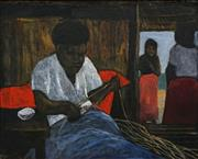 Sale 8692 - Lot 555 - Ray Crooke (1922 - 2015) - Basket Weaver 39 x 48.5cm