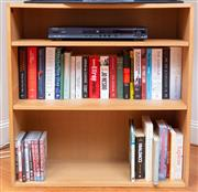 Sale 8694A - Lot 10 - A small bookshelf and containing two shelves of books, H x 80, W x 80, D x 31cm.