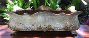 Sale 8706A - Lot 32 - A large rectangle cast iron planter with decorative art nouveau motif, silver colour, general wear, surface rust, H 22 x L 60cm